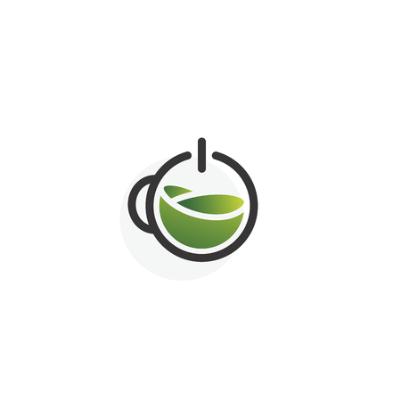 Logo green coffee or tea isolated on white background. Power on. Power button.