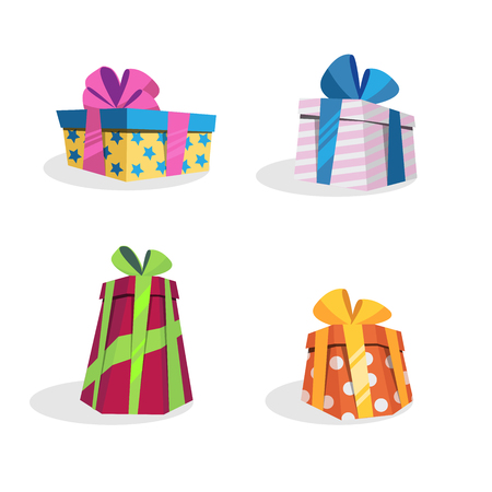 Vector set of different gift boxes. Gift for birthday and christmas