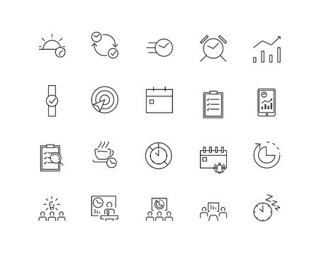 Thin line flat design. Icons for management, business, strategy, planning, analytics, communication, social network.