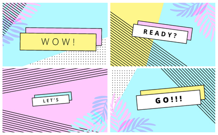 Universal trend poster juxtaposed with bright bold geometric leaves foliage yellow, blue and pink elements. Background in laconic fashion style.