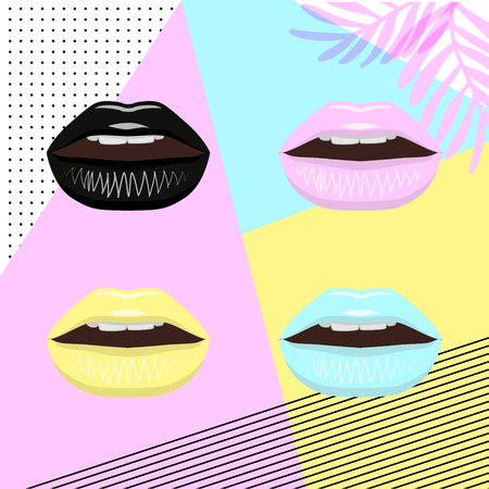 Universal trend poster juxtaposed with bright bold geometric leaves foliage yellow, blue and pink elements. Background in laconic fashion style. Lips with lipstick in pin style Illustration