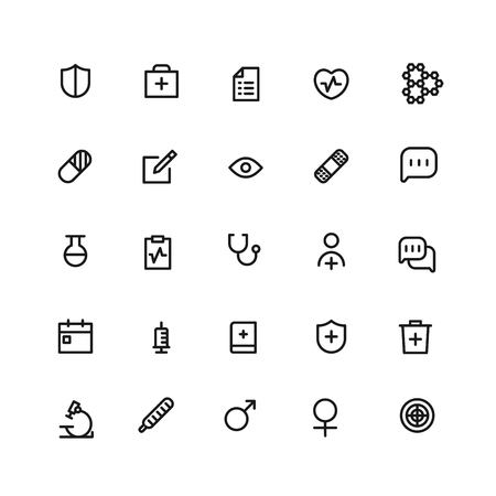 Medical icons. set of 25 editable outline medical icons such as test tube, heart with cross, stethoscope, pill, heartbeat clipboard Ilustração