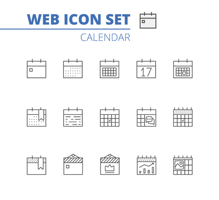 Calendar Icons Vector Set. Time and Seasons Simple Contour Line Style Signs. Vector Symbols of Diary, Organizer, Calender.