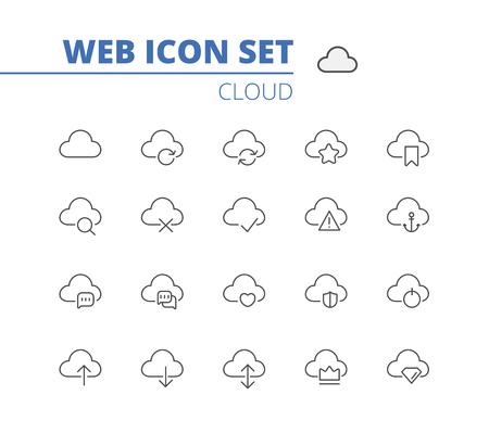 Cloud linear icons web set. Download, upload, settings and preferences symbols. Vector isolated outline Ilustração