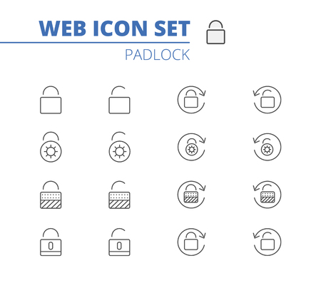 Lock vector icons set. Illustration isolated for graphic and web design. Ilustração