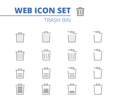 Trash bin icons line set. Recycle bin, trash bag. Illustration isolated for graphic and web design.