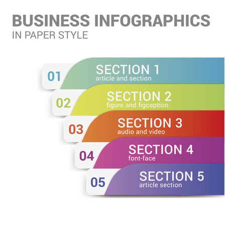 Business infographics in paper style, vector.