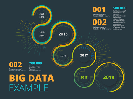 Big Data Vector Visualization. Technology Background. Visual Presentation on the Analysis of Big Data. Glow Fractal Element in Futuristic Style. Social network or business analytics representation.