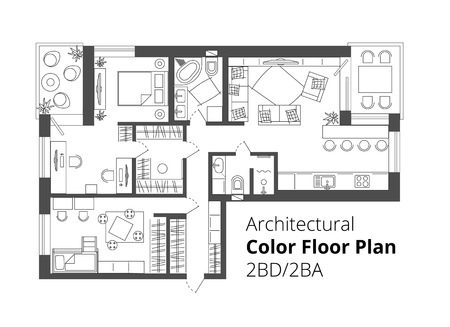 Architectural Color Floor Plan.Two Bedrooms Apartment. Flat architectural plan top view position with divided rooms