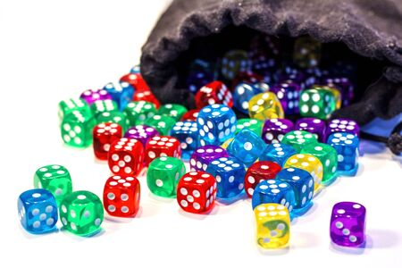 Colorful cubes dice on white Banco de Imagens