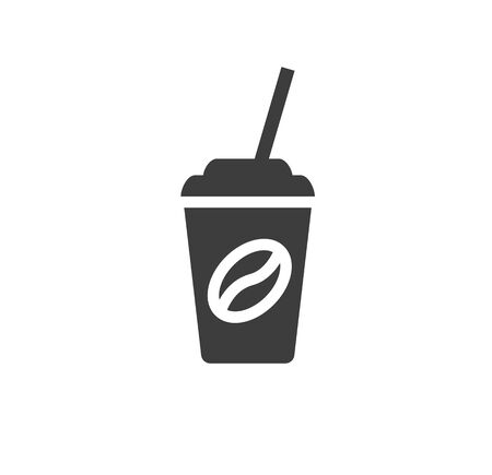 Coffee in a to go Cup with lid and straw icon