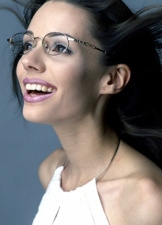Beautiful girl with glasses white-collar workers photo