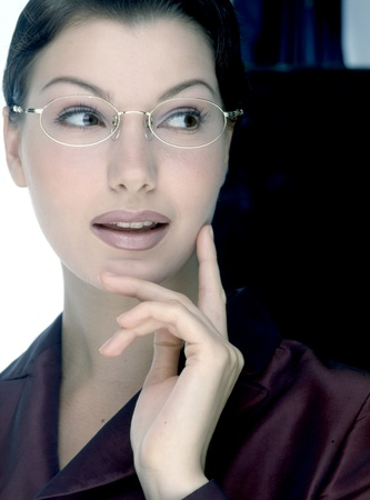 woman wearing glasses: model with glasses