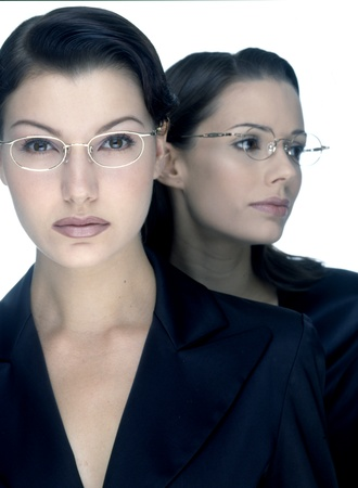 Beautiful girl with glasses and white-collar workers