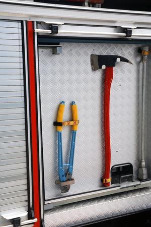 antique fire truck: Fire axes