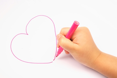 baby drawing a red heart Stock Photo - 9625048