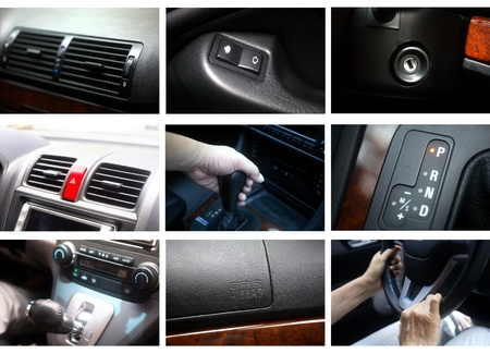 Luxury car interior details collage photo