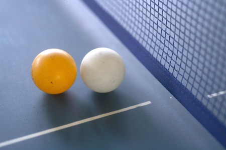 pingpong ball on a green table Stock Photo