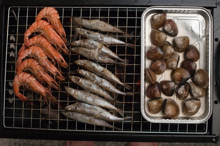 Grilled rack of fine seafood photo