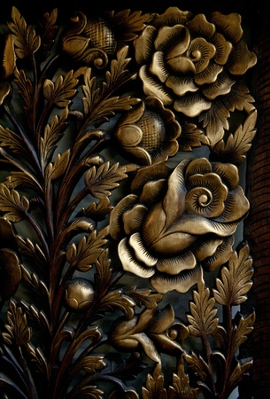 Ornate wood carving patterns look like on the desktop Stock Photo