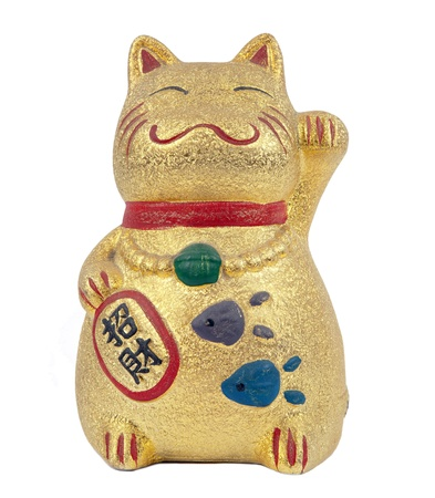 lucky cat on isolated white background photo