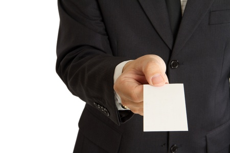 A business man with an name card on hand photo