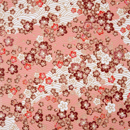 japanese pattern: japanese style red  sakura  and wave paper texture Stock Photo