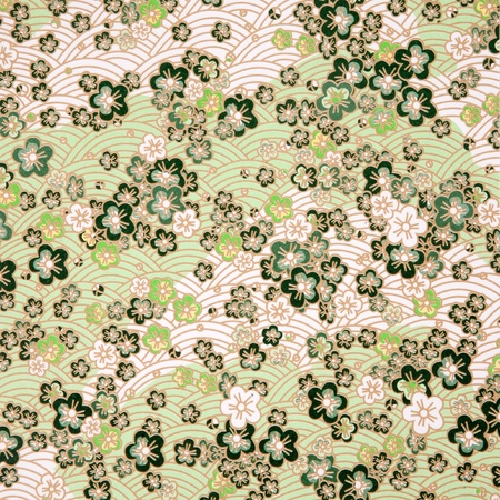japanese style green sakura  and wave paper texture