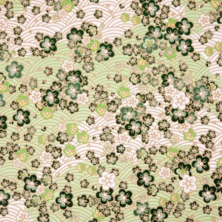 papel artesanal: verde, de estilo japon�s Sakura y la textura de papel de onda Foto de archivo