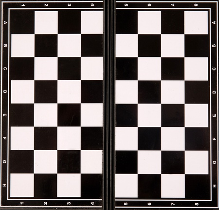 Carrying plastic chess board with black and white photo