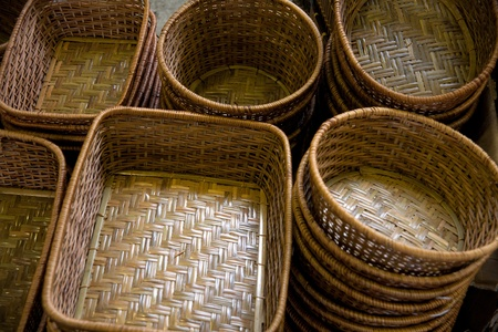 Traditional Asian bamboo woven products photo