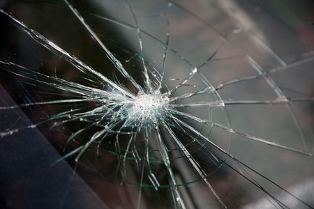 frosted glass: Penetrated cracks in the glass
