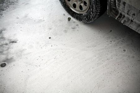 High-pressure water and foam car wash photo