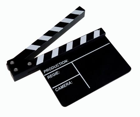 Clapper board on white background photo