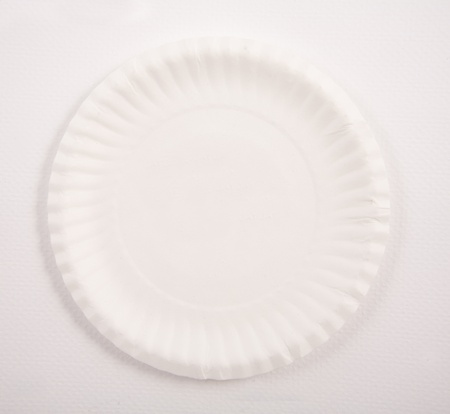 white birthday cake paper plate Stock Photo