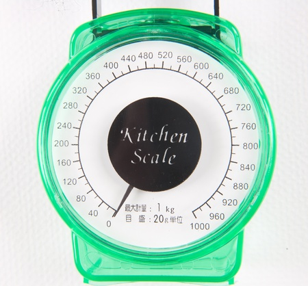 grams: kitchen scale isolated on white