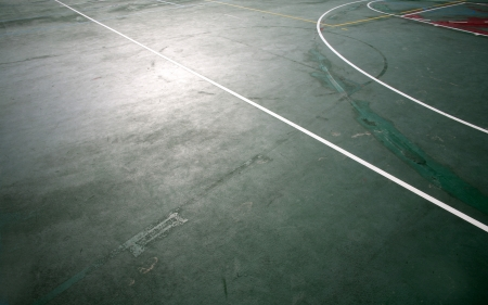 The lines of the basketball court