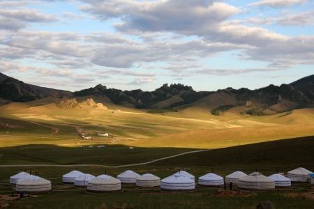Mongolian desert living yurts. Stock Photo