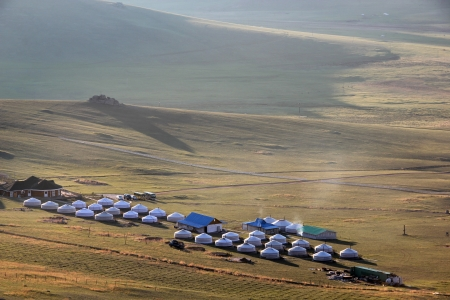 Mongolian desert living yurts. photo