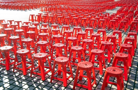 empty chairs on a huge ground photo
