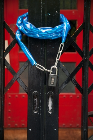 keychain of red door and blue chain photo