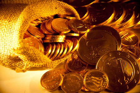 background with gold of coins Stock Photo