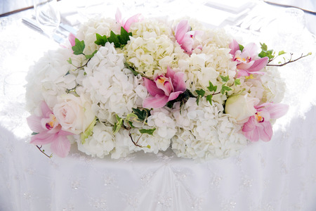 Flowers at an outdoor wedding venue/Wedding venue flowers Stock Photo - 28174541