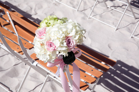 Flowers at an outdoor wedding venue Wedding venue flowers Stock Photo - 28181651