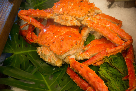 Cooked lobster with crab king crab photo
