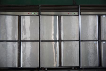 vertical fridge: steel iron freezer