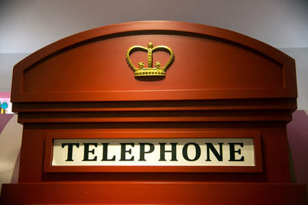 cell phone booth: red phone booths Stock Photo