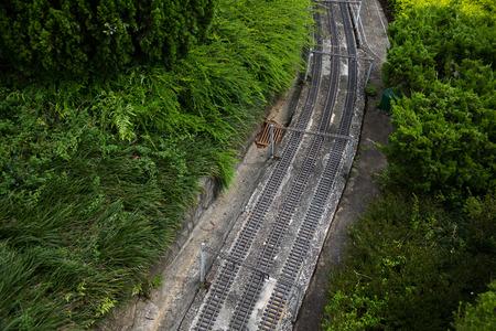 railroad tracks: Old railroad tracks sceneryModel and real Stock Photo