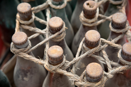 ship wreck: Wreck of winewine bottles in the hold of the sunken ship