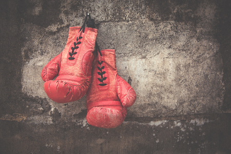 red vintage boxing glove